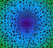 Buddha Head Blue Gradient by roseglasses