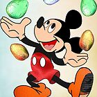 Mickey juggles Easter Eggs by Ann12art