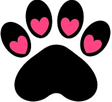 Pink and Black Heart Dog Paw Print by BeachBumFamily