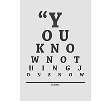 Ygritte, Eye Chart Photographic Print