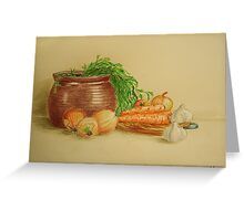 Still life with carrots and onions Greeting Card