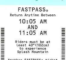 Splash Mountain FastPass by allyonlyweknow