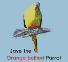 Orange-bellied Parrot t-shirt (light colours) by OBparrot