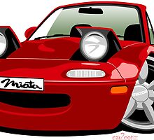 Mazda Miata caricature red by car2oonz
