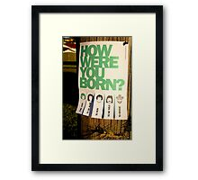 How Were You Born? Street Art Poster - Lady Gaga - Bruce Springsteen - Steppenwolf - Hank Williams Jnr Framed Print
