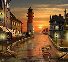 Nostalgic harbor at sunset  by Monika Juengling