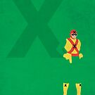 Captain X - Superhero Minimalist Alphabet Print Art by justicedefender