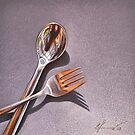 Spoon & fork by Elena Kolotusha