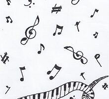 Music note and piano spiral by emmamayl