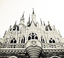 Cinderella's castle-black and white. by Carson Satchwell