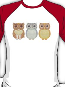 Fluffy Dog and Owl Cousins T-Shirt