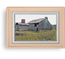 Nostalgic Old Barn ... the Back Side ... matted and framed Canvas Print