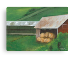 Vermont, red barn Canvas Print