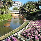 Water Feature & Kale flower bed, Colin Campbells Mem. Gdn. Brisbane. Qld. by Rita Blom