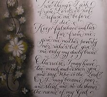 Scripture Proverbs 30 b&w calligraphy art by Melissa Goza