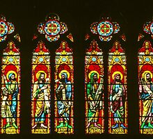 12 Apostles under Rose window Transept Cathedral Troyes France 198405060011 by Fred Mitchell