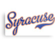 Syracuse Script Blue  Metal Print