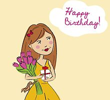 Happy Birthday Card with beautiful girl and flowers by vinainna