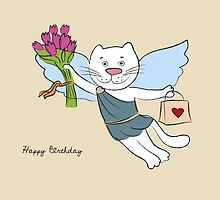 White kitty happy birthday card by vinainna