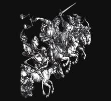 Four Horsemen of the Apocalypse, Durer; White on Black by TOM HILL - Designer