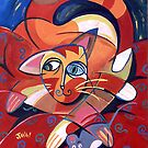 'Cubist Cat with a Toy Mouse' by Jerry Kirk