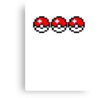 8 bit Pokeballs Canvas Print