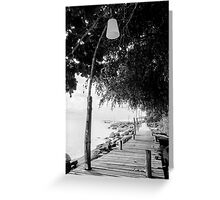 Empty wooden pier on tropical island Greeting Card