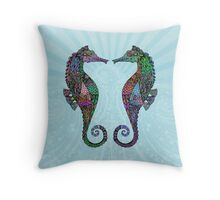 Electric Psychedelic Seahorses Throw Pillow