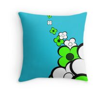 Lime Green and White Flowers Throw Pillow