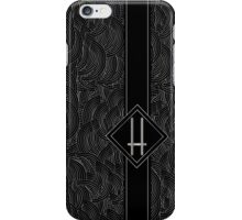 1920s Jazz Deco Swing Monogram black & silver letter H iPhone Case/Skin