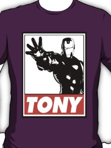 Iron Man Tony Obey Design T-Shirt
