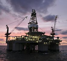 Oil Rig at Dawn by Bradford Martin