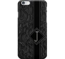 1920s Jazz Deco Swing Monogram black & silver letter J iPhone Case/Skin