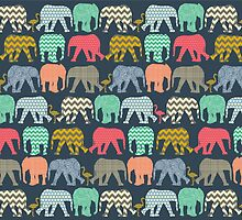 baby elephants and flamingos by Sharon Turner
