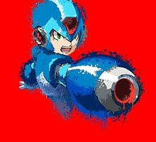 Megaman (Rockman) Splash Paint Design by scribbleworx