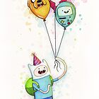 Finn with Birthday Balloons Jake Princess Bubblegum BMO by OlechkaDesign