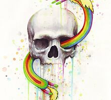 Adventure through Time and Face with Jake, Finn, and Lady Rainicorn | Skull Watercolor by OlechkaDesign