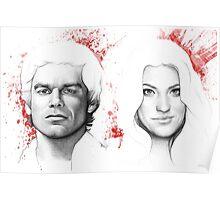 Debra and Dexter Morgan Portrait, Art Poster