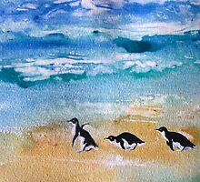 Three Little Penguins Out for a Stroll by Heather Holland by Heatherian