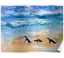 Three Little Penguins Out for a Stroll by Heather Holland Poster
