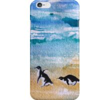 Three Little Penguins Out for a Stroll by Heather Holland iPhone Case/Skin