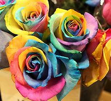 Colorful Bouquet of Rainbow Roses by Gilda Axelrod
