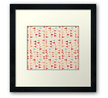 Back & Forth - triangle abstract pattern in peach, aqua & cream Framed Print