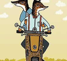 Foxes take a Ride - Foxes in Love by Paper-Sparrow by Paper Sparrow