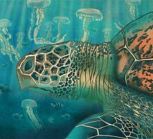 Green back turtle by Carl Conway