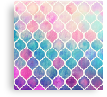 Rainbow Pastel Watercolor Moroccan Pattern Metal Print