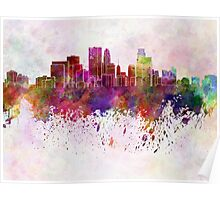 Minneapolis skyline in watercolor background Poster