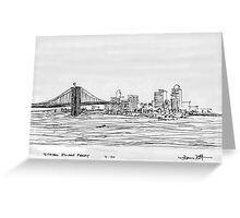 NYC- Brooklyn Bridge as drawn from Staten Island Ferry Greeting Card