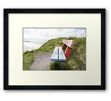 view of beach and sea in Ballybunion with bench Framed Print