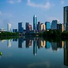 Austin Skyline a Green Reflection by Roschetzky